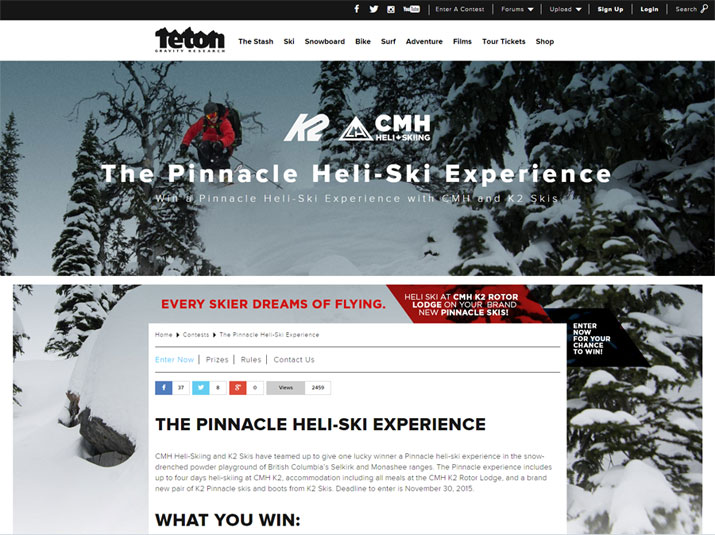 WIN The Pinncale Heli-Ski Experience with CMH and K2 Skis